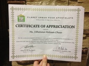 Certificate of Appreciation that Carlo and I got from Father Abelario