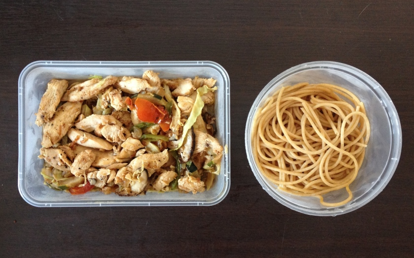 Chicken with tomatoes and other vegetables with pasta on the side